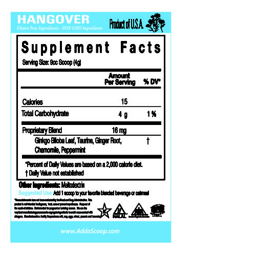 Smoothie Booster Hangover Nutritional Panel