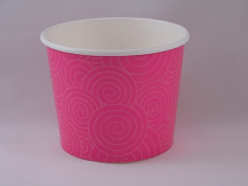 Frozen Yogurt Cups 16 oz Pink Swirl