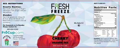 Granita Mix Cherry Label