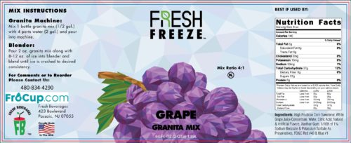 Granita Mix Grape Label