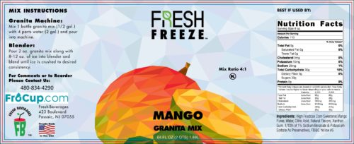 Granita Mix Mango Label