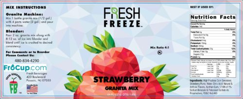 Granita Mix Strawberry Label