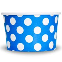 Yogurt Cups Blue Polka Dot 4oz