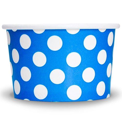 Yogurt Cups Blue Polka Dot 4oz