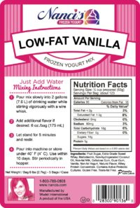 Base Mix Low Fat Vanilla Label