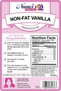 Base Mix Non Fat Vanilla Label