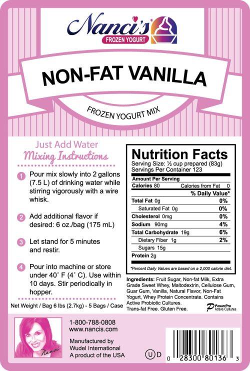 Base Mix Non Fat Vanilla Label