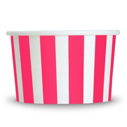 Yogurt Cups Pink Striped 4oz