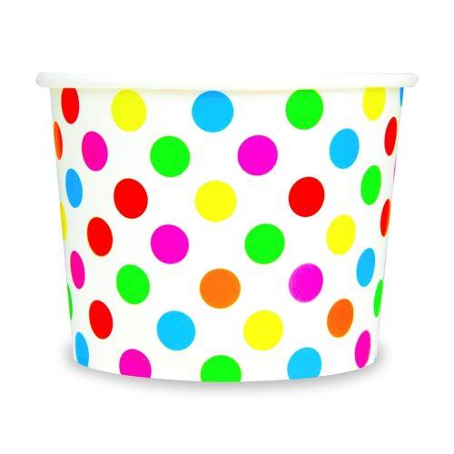 Yogurt Cups Rainbow Polka Dot 12oz