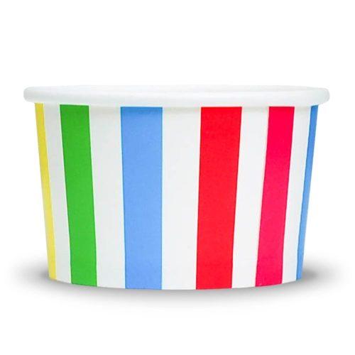 Yogurt Cup Rainbow Striped 4oz