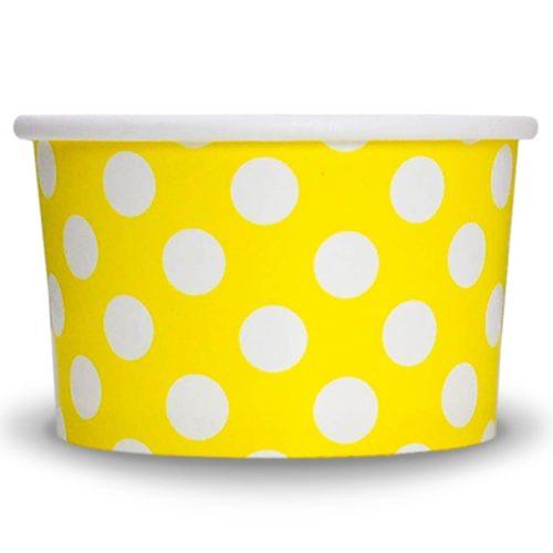 Yogurt Cup Yellow Polka Dot 4oz