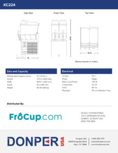 Frozen Beverage Machine Donper XC224 Spec Sheet Back