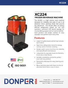 Frozen Beverage Machine Donper XC224 Spec Sheet Front
