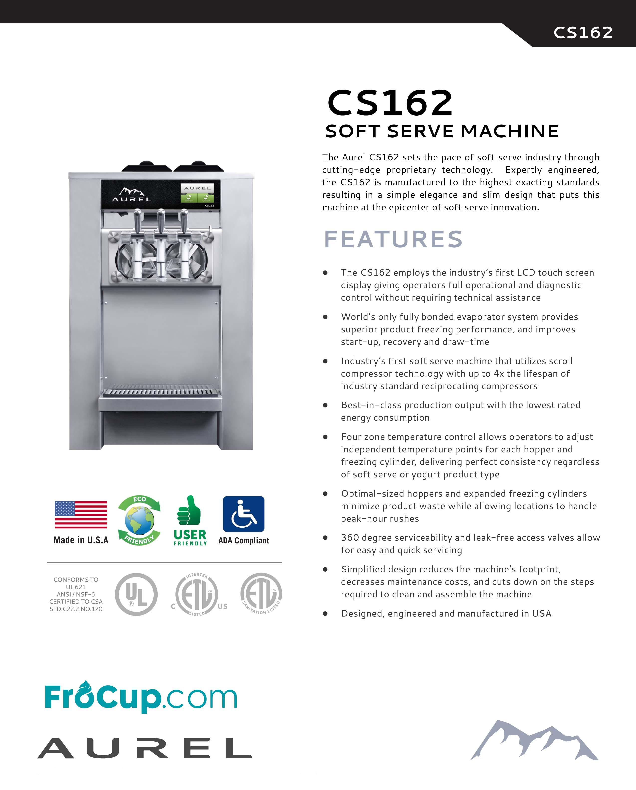 USA Made Soft-Serve Machine - Aurel CS162 with Touch Screen Bundle