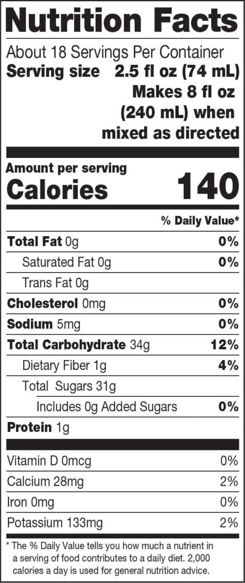 Dr. Smoothie 100 Crushed Nutrition Facts Tropical Sunshine